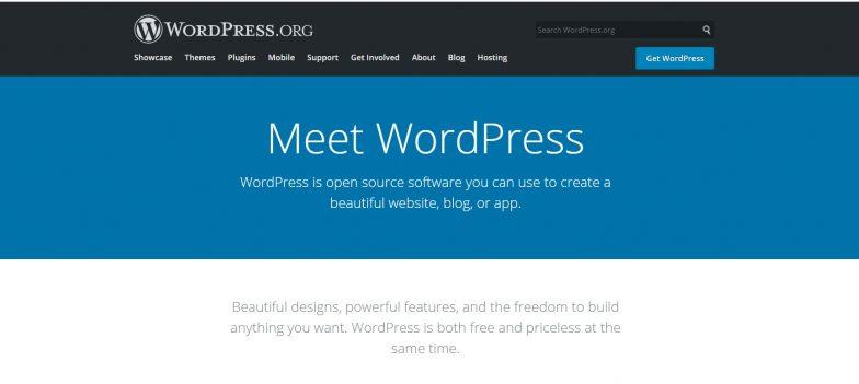 Screenshot of WordPress platform