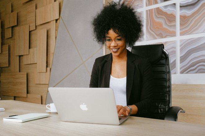 Woman hosting live webinar